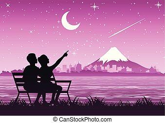 山, 星, 見なさい, 恋人, フジ, 砂, 立ちなさい, 流星, 夜
