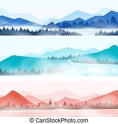 山, 景色。, 森林, 屋外, panorama., 霧が濃い, 山のpanorama, 自然, 雪が多い, シルエット, ピークに達する, ベクトル, 木