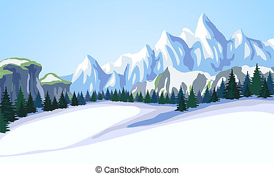 山, 景色。