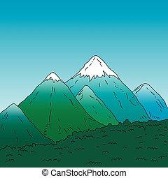 山, 景色。, peaks., 雪が多い, 緑の山