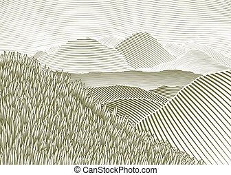 山, 木版, 風景