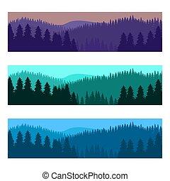 山, 木, 現実的, シルエット, 森林, 横, 風景