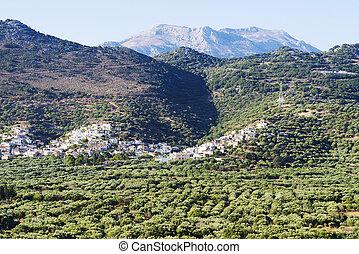 山, 村, crete., 島