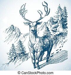 山, 松の木, 森林, そして, 鹿, スケッチ