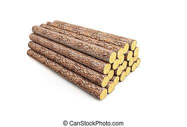 山, 松, 木材を伐採する