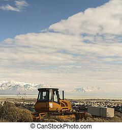 山, 框架, 雪, 黃色, loader, 高達, 看法, 湖, 空, 小山