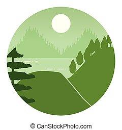 山, 森林, 風景