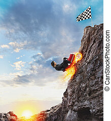 山, 概念, 成功, 上昇, 女性実業家, リーチ, competition., 速い, 自動車, flag.