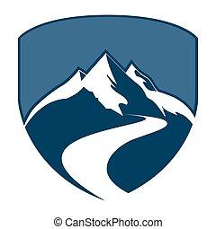 山, 概念, 盾, 符號, 圖表, 元素, 矢量, 樣板, 徽章, design.