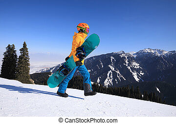 山, 歩くこと, スノーボーダー, 1(人・つ), snowboard, ピークに達しなさい, 冬