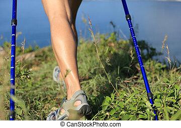 山, 歩くこと, ハイキング, 海岸, ピークに達しなさい, 足
