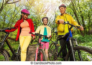 山, 歩くこと, 家族, 公園, 自転車, 活動的