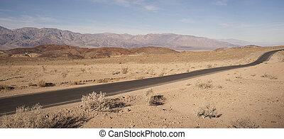 山, 死亡, 国家公园, badwater, 范围, panamint, 山谷, 道路
