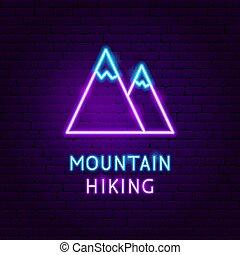 山, 氖, 遠足, 標簽
