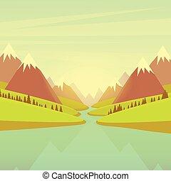 山, 水, 川の景色, 森林, 緑公園, 青い空