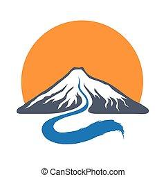 山, 河, 以及, 太陽, 矢量, 標識語, illustration.