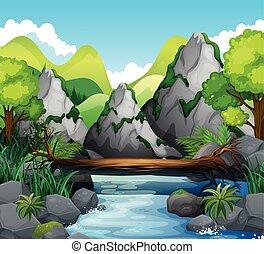 山, 河, 場景