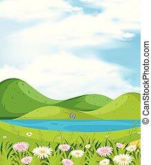 山, 河, 場景, 背景