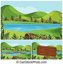 山, 河, 場景, 自然