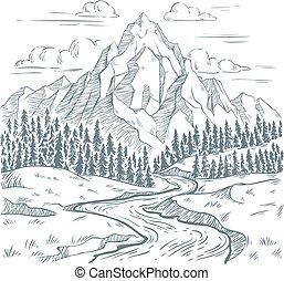 山, 河, 山, 葡萄酒, 冒險, 插圖, 河, 矢量, 蛇, 手, 在戶外, 畫, 旅行, 風景, engraving.