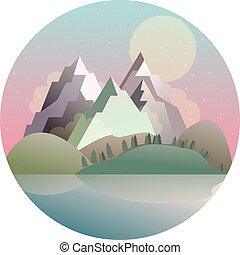 山, 湖, ベクトル, 森林, 風景