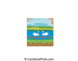 山, 湖, 風景, 矢量, 天鵝