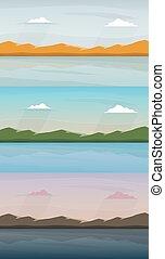 山。, 湖, 風景