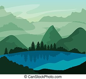 山, 湖, 風景, 自然, 木, 松