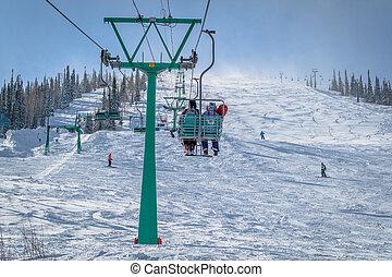 山, 滑雪, 察看, 带, 人们