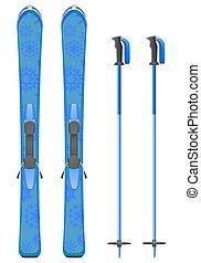 山, 滑雪, 矢量, 插圖
