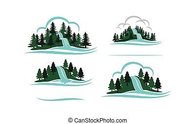 山, 滝, セット, テンプレート