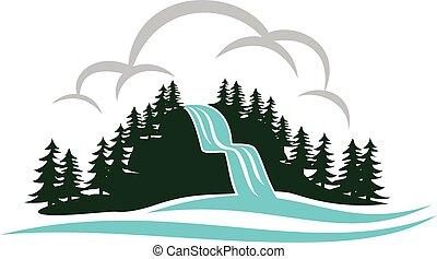 山, 滝, ベクトル, デザイン, テンプレート, ロゴ