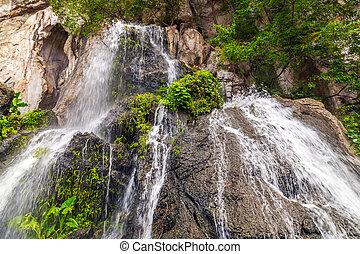 山, 滝, 緑の森林