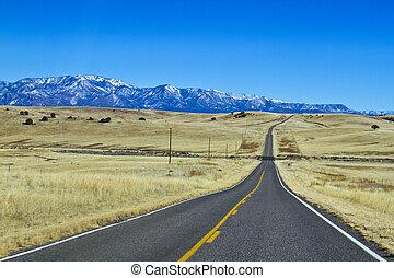 山, 瀝青, 長, 空, 對于, 路