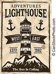 山, 燈塔, 船舶, retro, 海報