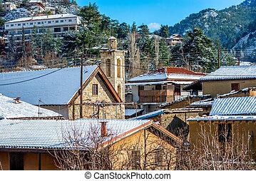 山, 獨特, 村莊, ......的, kakopetria, 在, a, 多雪, day., nicosia, 地區, 塞浦路斯