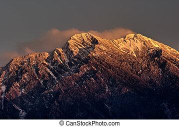 山, 玉, 北方, 高峰, 在中, 黎明