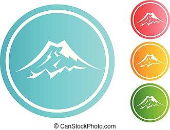 山, 環繞, 矢量, 集合, 圖象