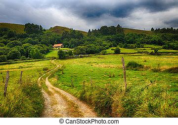 山, 田舎の道路, 家