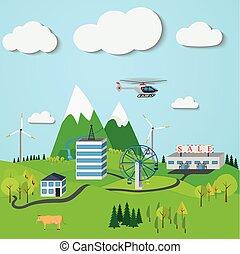 山, 町, 風車, 木, 曇り, 滝, 下に, sky., 風景
