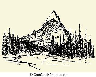 山, 略述, 松樹, 矢量, 森林, 畫, 河