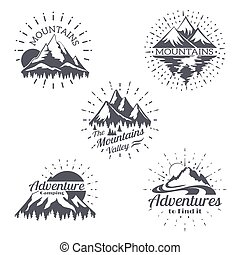 山, 略述, 集合, 山, 葡萄酒, 標籤, 線, 黑色半面畫像, 矢量, retro, 時髦, 標識語, style.