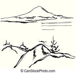 山, 略述, illustration., 手, 矢量, 畫, 風景