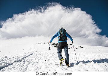 山, 登山家, 坂の上へ, 嵐, 到来, 会いなさい, 上昇