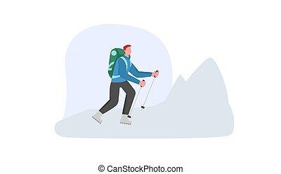 山, 登山, 步行, 多雪, 極端, mountain., 旅遊業