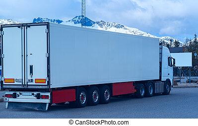 山, 白色, 卡車, 背景, 冷凍