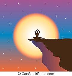 山, 瞑想, 日没, top.