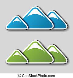 山, 矢量, 冬天, 春天, 符號, 紙
