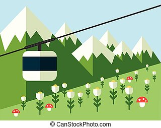 山, 矢量, 空中覽繩, 風景