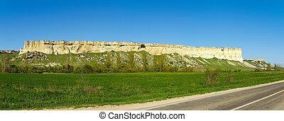 山, 石灰岩, パノラマ, 端, プラトー, 急